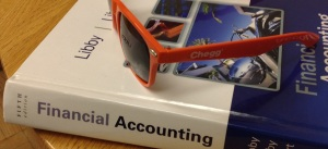Photo of Chegg sunglasses on top of a textbook