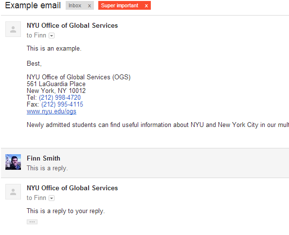 Example of emails