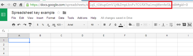 Example of Google Spreadsheet URL with key indicated