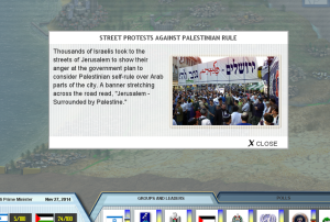 Screenshot of PeaceMaker Game, showing a street protest by Israelis against Palestinian self-rule